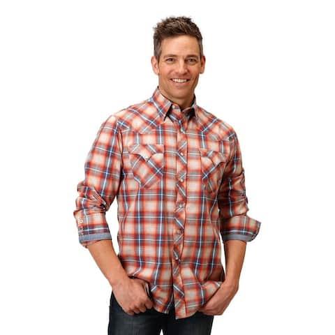 Roper Western Shirt Mens Long Sleeve Snap Orange