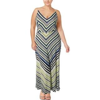 City Chic Womens Plus Maxi Dress Super Stripe Casual Multi 18