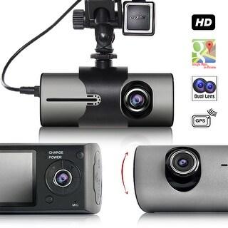 "Indigi Car DVR Dash CAM + 2.7"" LCD + Dual Lens (Front & In-Car) + G Sensor Motion Detection + GPS Module"