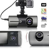 "Indigi Car DVR Dash CAM + 2.7"" LCD + Dual lens (Front & Back) + G Sensor Motion Detection + GPS Module"