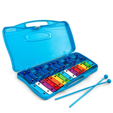 Gymax 25 Notes Kids Glockenspiel Chromatic Metal Xylophone w/ Blue