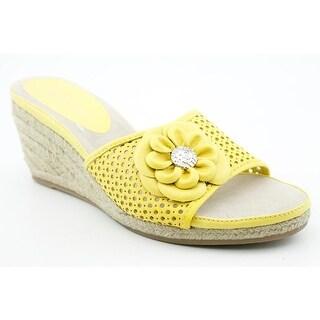 Anne Klein AK Philomena Women Open Toe Leather Wedge Sandal