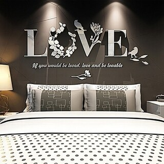 Home DIY Art Decor 3D Mirror Love Wall Stickers Quote Flower Acrylic Decal
