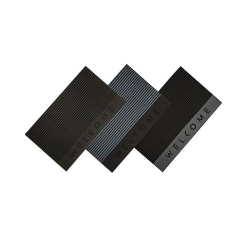 Ottomanson DirtOff Welcome/Stripes Design Scraper Rubber Door Mat