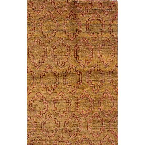 "ECARPETGALLERY Hand-knotted Eternity Brown Hemp Rug - 4'11"" x 7'11"""