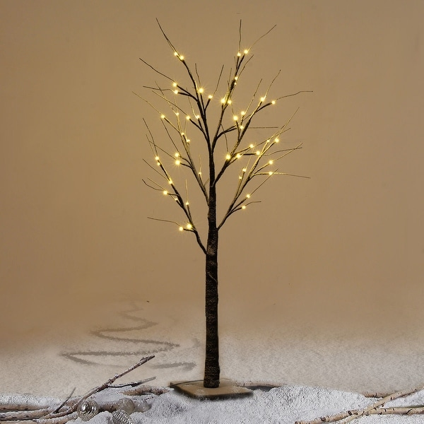 Costway 4Ft Christmas Xmas Brown Birch Snow Tree LED Light Warm Decorative Festival Party