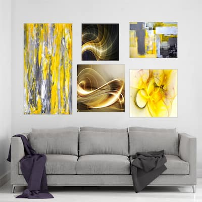 Designart - Yellow and Gold Collection - Abstract Wall Art set of 5 pieces - Multi-color