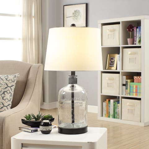"""Woodburn Metal and Glass 26.5-inch Table Lamp - 26.5""""H x 14""""Rnd"""