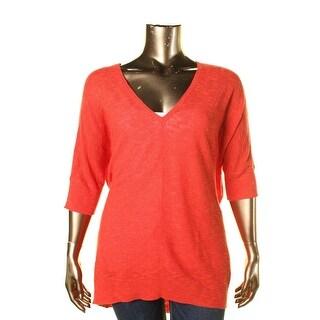 Eileen Fisher Womens Linen Slub Pullover Top