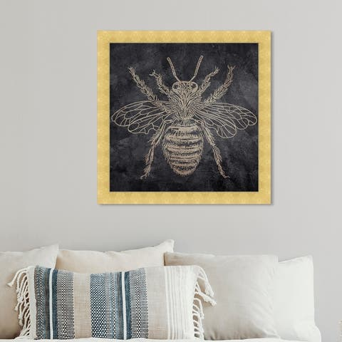 Oliver Gal 'Bee' Animals Framed Wall Art Prints Insects - Gold, Black