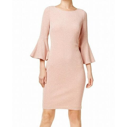 Calvin Klein Pink Women's Size 8 Metallic Bell Sleeve Dress