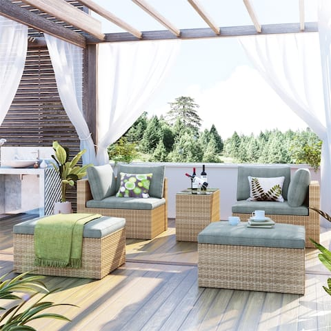 5-Piece Wicker Rattan Sectional Sofa Set