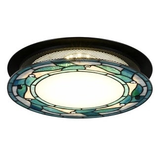"""Dale Tiffany TH15476LED Green Leaves Single Light 15"""" Wide LED Flush Mount Ceiling Fixture with Tiffany Glass Shade"""