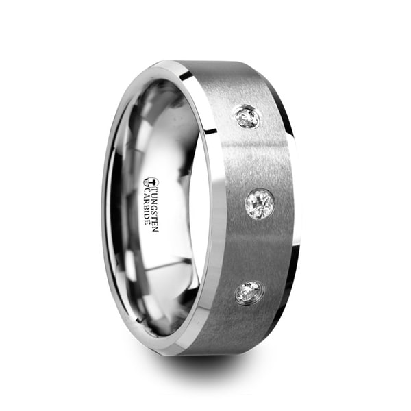 THORSTEN - SAMUEL Satin Finish Tungsten Carbide Wedding Ring with 3 White Diamond Setting and Beveled Edges