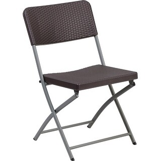 Rivera Plastic Folding Chair, Brown Rattan Seat and Back