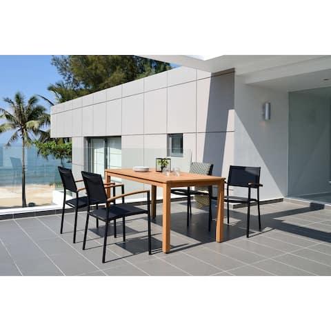 Lifestyle Garden 5-Piece Outdoor Round Sling Dining Set (Teak Finish)