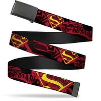 Blank Black  Buckle Superman X Ray Vision Black Red Yellow Webbing Web Belt