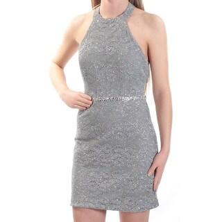 CITY STUDIO $69 Womens New 1277 Gray Glitter Low Back Sheath Dress 5 Juniors B+B