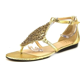 Vince Camuto Valeen Women Open Toe Leather Gold Thong Sandal