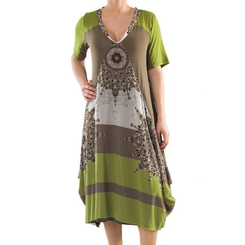LA MOUETTE Women's Plus Size Casual Tulip Dress with Print