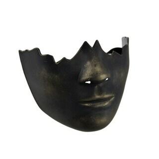 Black Gold Finish Broken Face Half Mask