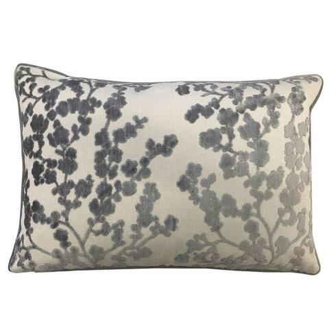 Rodeo Home Daphne Cherry Blossom Floral Cut Velvet Lumbar Pillow