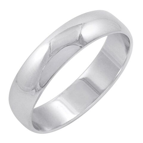 Men's 10K White Gold 5mm Classic Fit Plain Wedding Band (Available Ring Sizes 8-12 1/2)