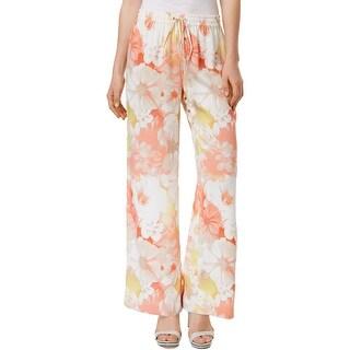 Calvin Klein Womens Wide Leg Pants Floral-Print Pull On
