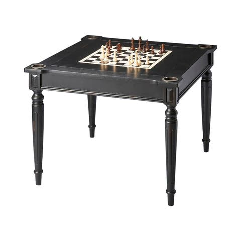 Offex Transitional Square Wooden Multi-Game Card Table in Black Licorice Finish