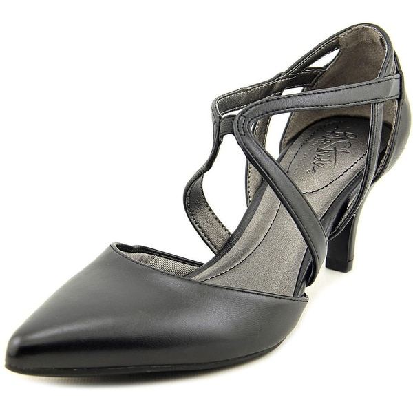 Life Stride Seamless Women  Open Toe Leather Black Sandals