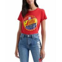 Lucky Brand Red Multi Womens Size Medium M Graphic Tee-Shirt Top