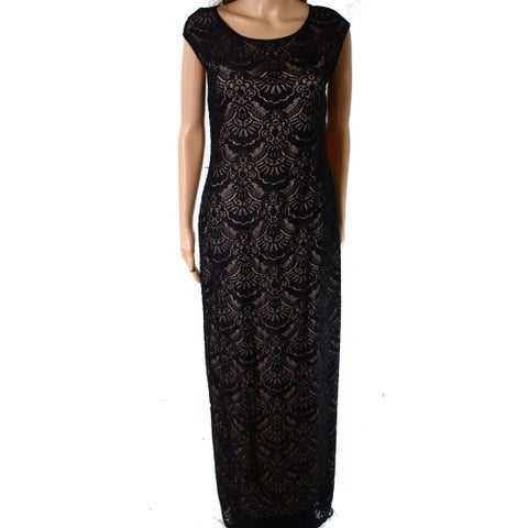 Connected Apparel Black Nude Women's Size 6 Lace Gown Dress
