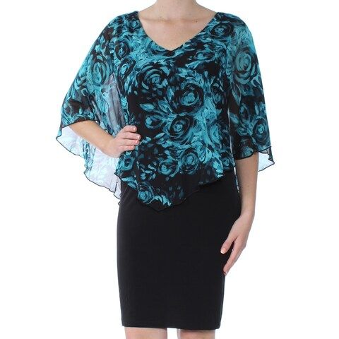 CONNECTED Womens Black Capelet Floral Above The Knee Sheath Evening Dress Size: 10