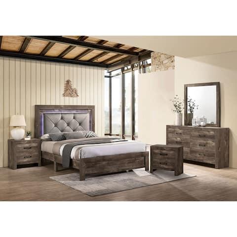 Furniture of America Ashland Rustic Natural Tufted 5-piece Bedroom Set