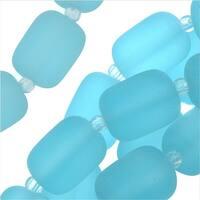 Cultured Sea Glass, Barrel Nugget Beads 13x10mm, 13 Pieces, Aqua Blue