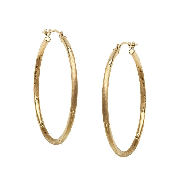Just Gold Etched Hoop Earrings in 14K Gold