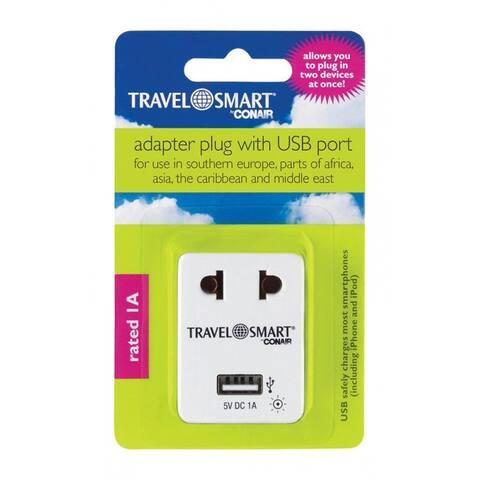 Conair NWG15 Travel Smart Adapter Plug With USB Port, Plastic, Grey