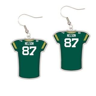 Green Bay Packers #87 Jordy Nelson Dangle Jersey Earrings