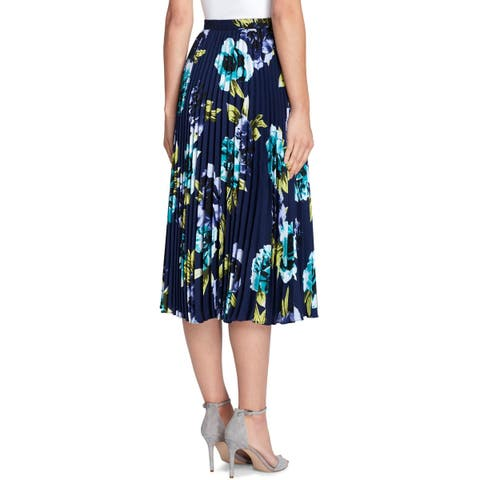 Tahari ASL Womens Midi Skirt Pleated Floral - 0P