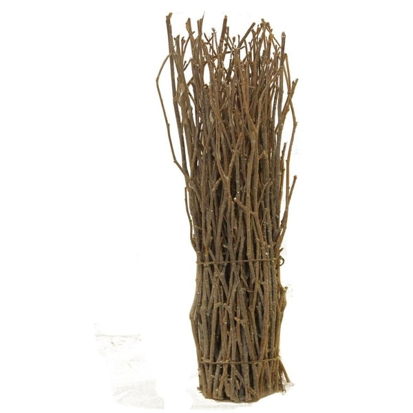 "14"" Rustic Natural Twig Frosted and Glittered Standing Christmas Tabletop Decoration"