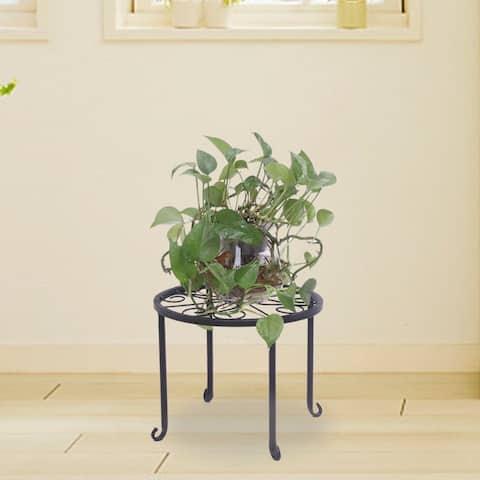 Simple Metal 4 Pot Round Plant Stands Black