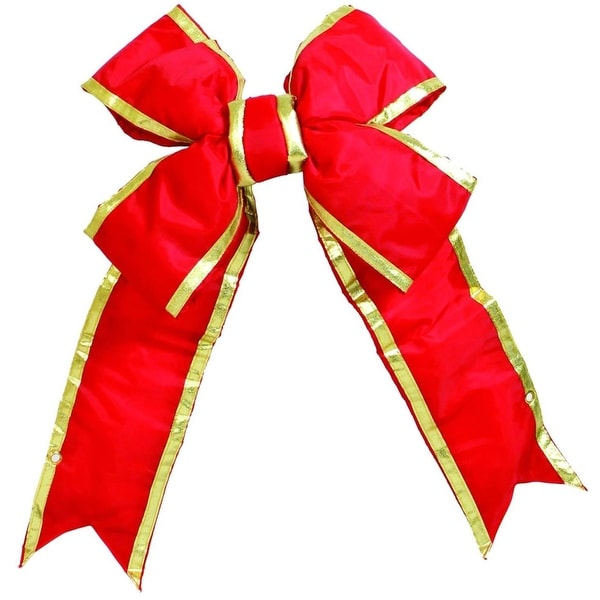 "46"" x 68"" Commercial Structural 4-Loop Red and Gold Indoor/Outdoor Christmas Bow Decoration"