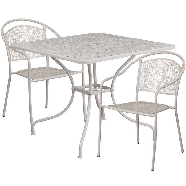 Bon Sterling Square 35.5u0026#x27;u0026#x27; Light Gray Steel Table Set W