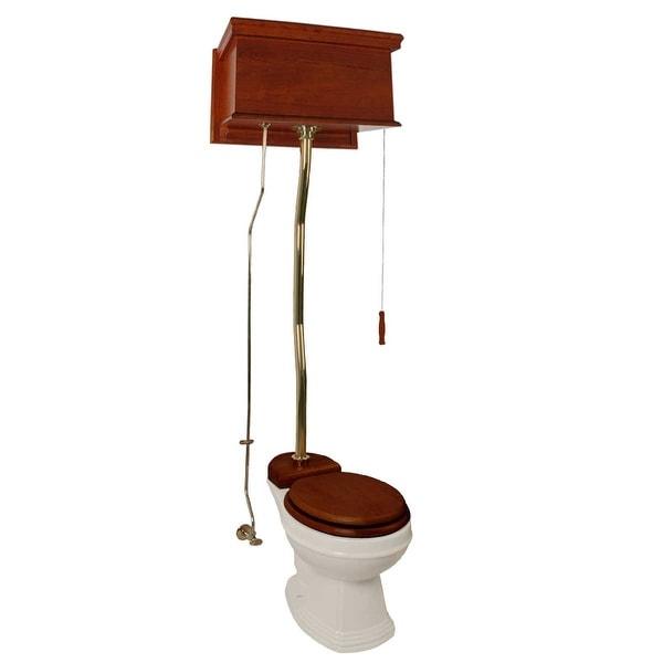 Mahogany Flat High Tank Pull Chain Water Closet With Elongated Toilet Bowl