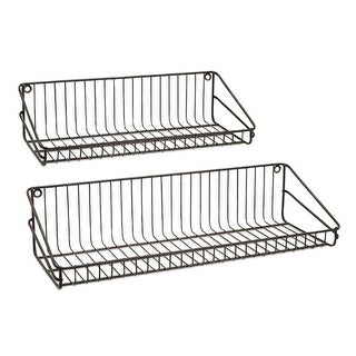 Set of 2 Modern Ludwig Black Metal Wire Hanging Wall Shelves 27.5""