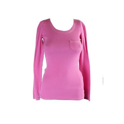 Jenni Juniors Pink Long-Sleeve Ribbed Pocket Sleep Tee XS