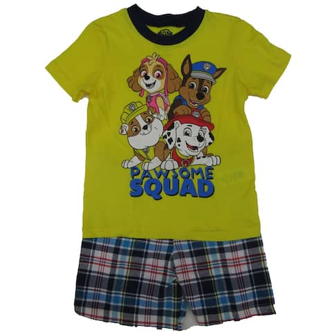 Nickelodeon Little Boys Yellow Plaid Paw Patrol Short Sleeve 2 Pc Outfit