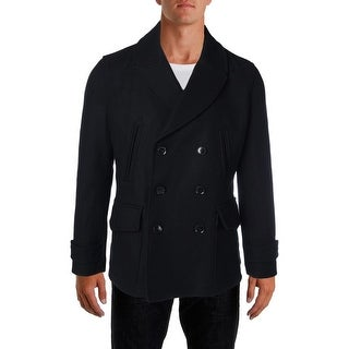 Hardy Amies Mens Pea Coat Wool Blend Double-Breasted - S