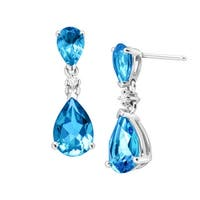 3 7/8 ct Natural Swiss Blue Topaz Drop Earrings with Diamonds in 14K White Gold