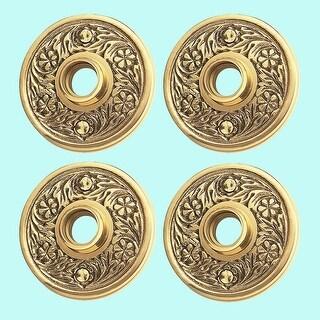 4 Brass Door Rosette Pairs Antique Trim Plate Tarnish Resist